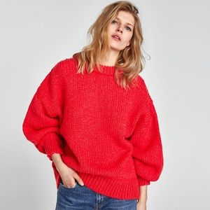 Zara Knit Mohair Blend Sweater with Puff Sleeves S